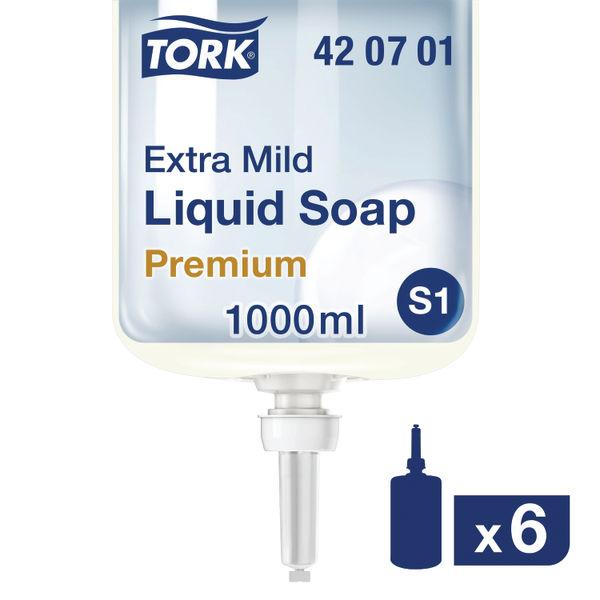 Tork 1 Litre S1 Non-Perfumed Extra Mild Liquid Soap, Pack of 6 - 420701