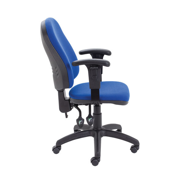 First Blue High Back Adjustable Arms Operators Office Chair