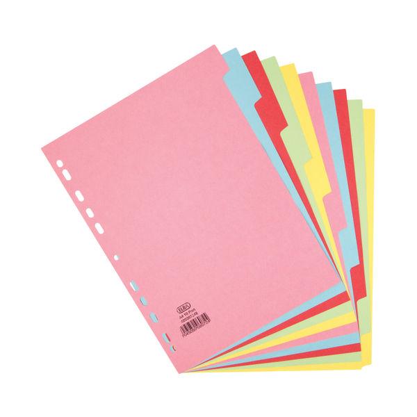 Elba A4 Plain Tab Assorted Colours 10 Part Index Dividers - 400007246