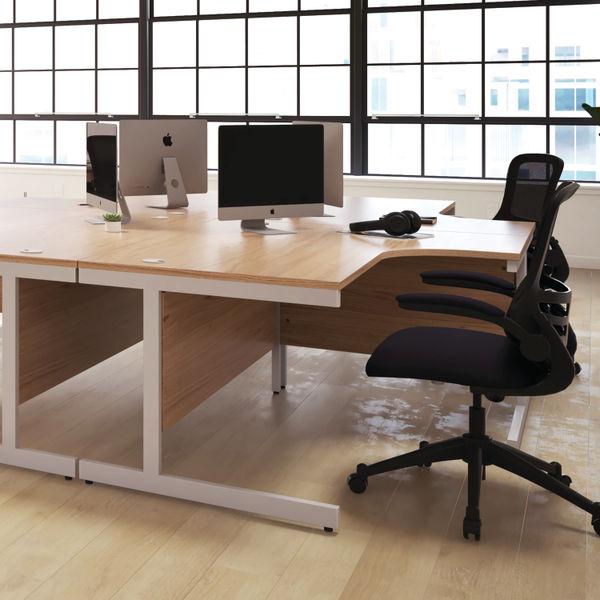 First 1600mm Beech/Silver Single Rectangular Desk