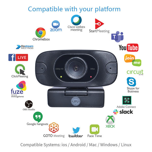 JPL Vision Mini Professional 1080P USB Webcam 30 FPS With Full HD Glass Lens Black VISION MINI