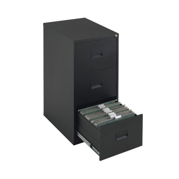 Talos 1000mm Black 3 Drawer Filing Cabinet