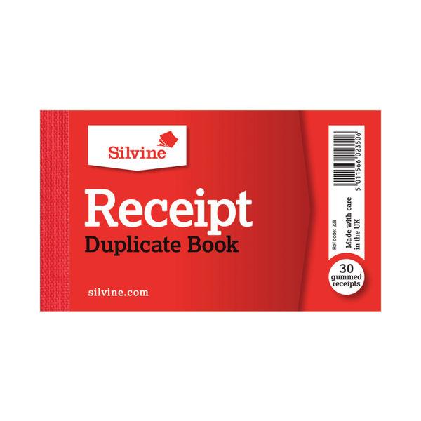 Silvine Duplicate Receipt Book 63x106mm Gummed (Pack of 36) 228