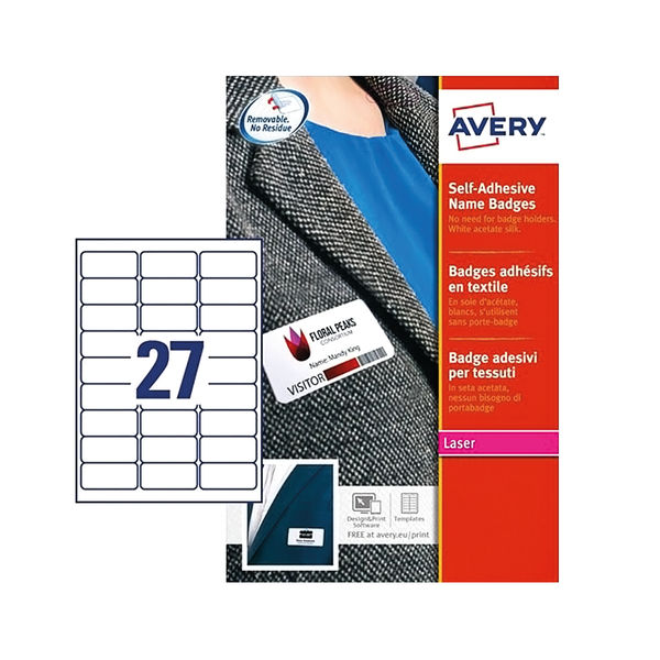 Avery 63.5 x 29.6mm Self-Adhesive Name Badges, Pack of 540 - L4784-20