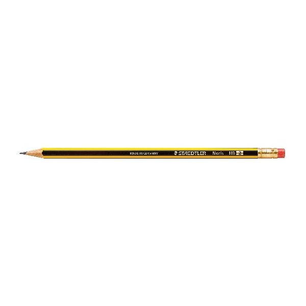 Staedtler Noris 122 HB Pencil with Rubber Tip, Pack of 12 - 122-HBRT