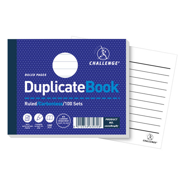 Challenge Carbonless Duplicate Ruled Book, 100 Slips (Pack of 5) - H63030