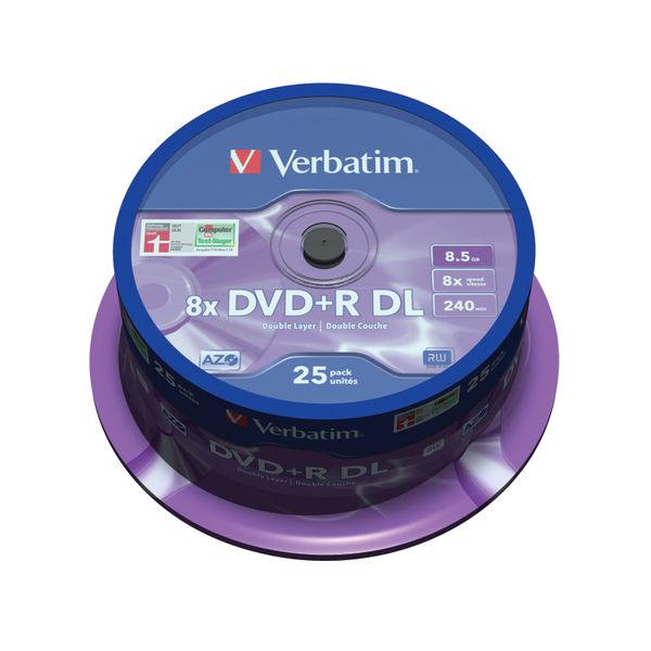 Verbatim 8.5GB DVD+R Dual Layer Spindle DVDs, Pack of 25 - 43757