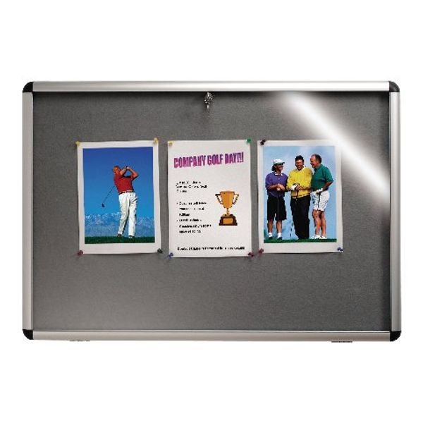 Nobo Lockable Visual Insert Board, 900 x 600mm, Grey - 1902049
