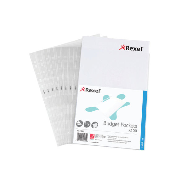 Rexel Economy A4 Punched Pockets, 40 Micron - Pack of 100 - 11000