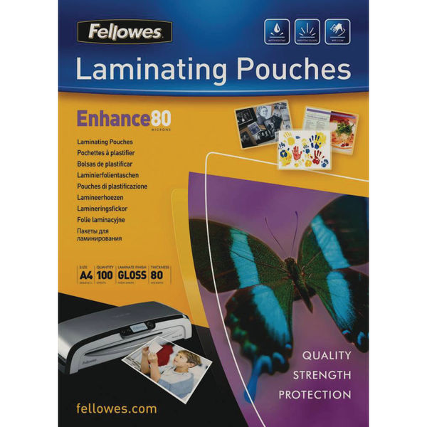 Fellowes A4 Enhance Glossy Laminating Pouches, Pack of 100 | 5306101