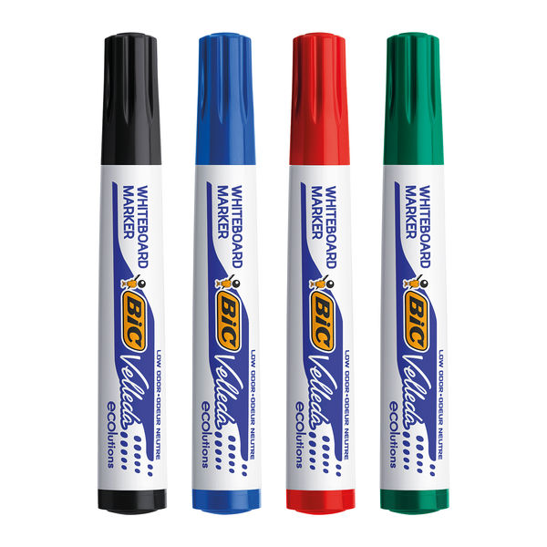 BIC Velleda 1701 Assorted Drywipe Markers, Pack of 4 - 1199001704