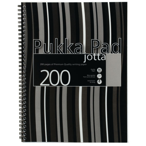Pukka A4 Jotta Poly Cover Black Stripy Pack Of 03 OEM: PP01184