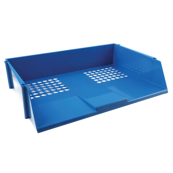 Q-Connect Wide Entry A4 Letter Tray Blue | 21689