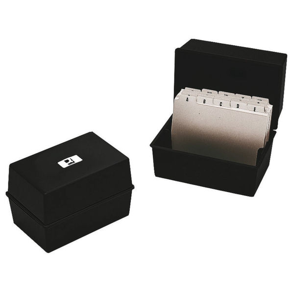 Q-Connect Card Index Box Charcoal | CP010YTBLK