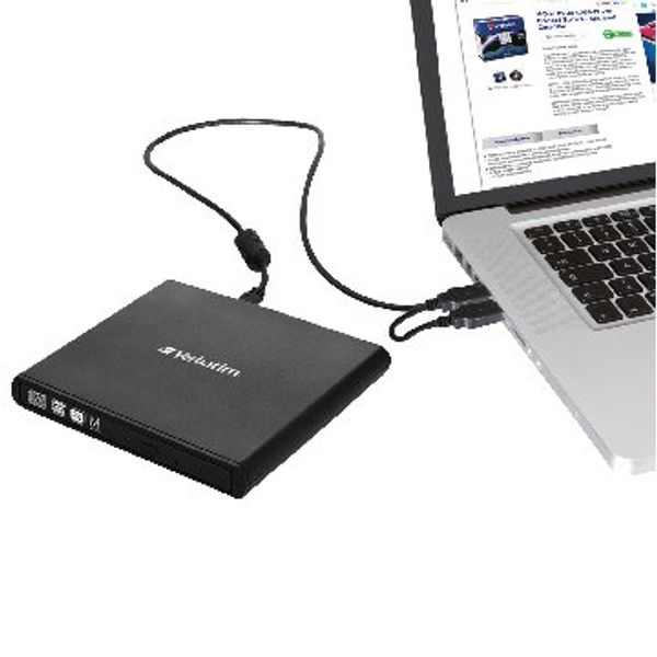 Verbatim Black USB 2.0 CD/DVD External Slimline Writer - 98938