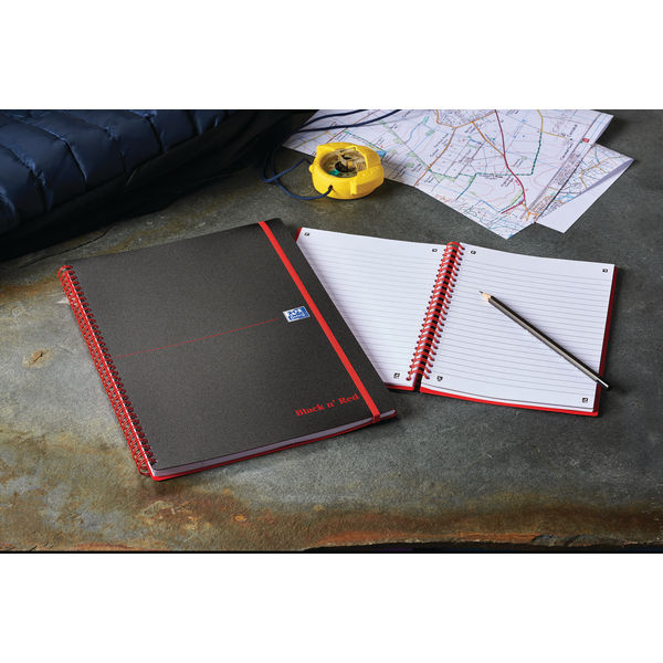Black n Red Ruled Polypropylene Wirebound Notebook 140 Pages A5 (Pack of 5) 846350109