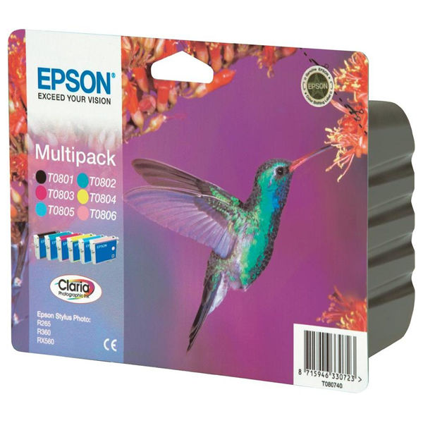 Epson T0807 Black and Colour Ink Cartridge Multipack - C13T08074010