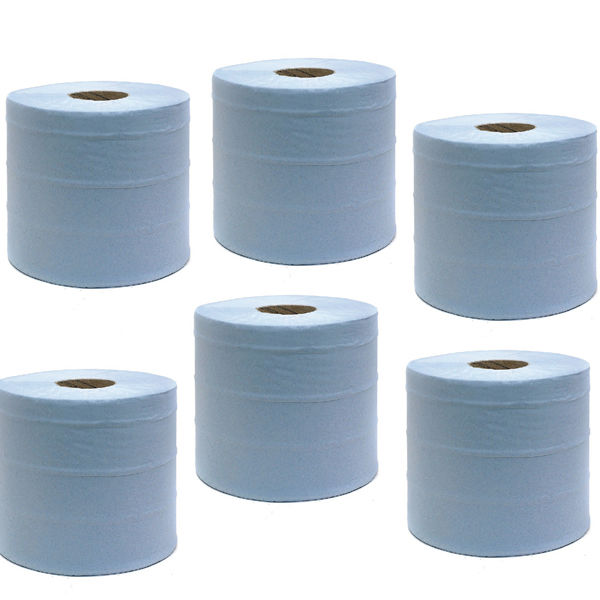 Maxima Green 150m Blue Wiper Centrefeed Rolls, Pack of 6 - 1105093