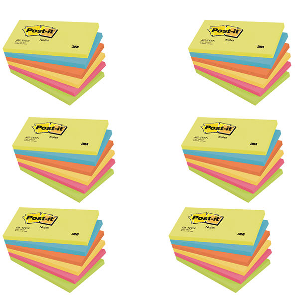 Post-it 76 x 127mm Energy Colours Notes, Pack of 6 | 655TF