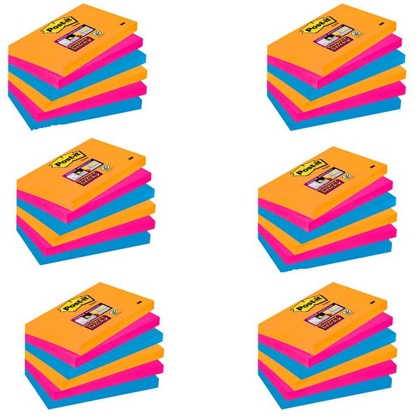 Post-it 76 x 127mm Bangkok Super Sticky Notes, Pack of 6 - 655-6SS-EG