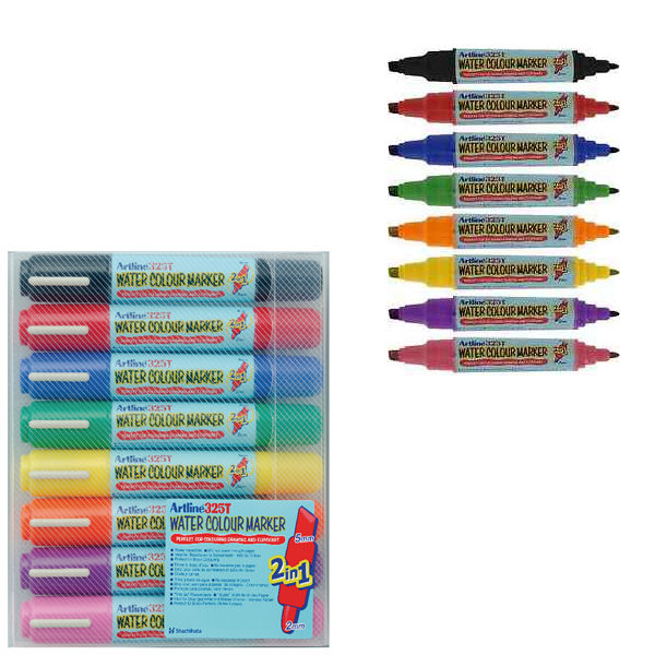 Artline Assorted 2-in-1 Flipchart Markers, Pack of 8 - EK-325T-W8