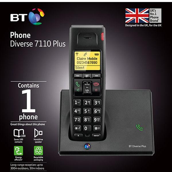 BT Diverse 7110 R DECT Cordless Phone Black 060743