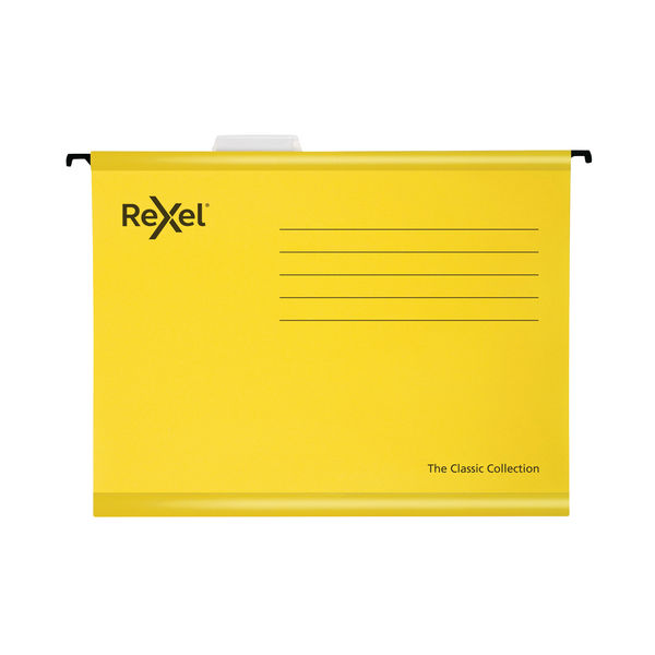 Rexel Classic Suspension Files Foolscap Yellow (Pack of 25) 2115593