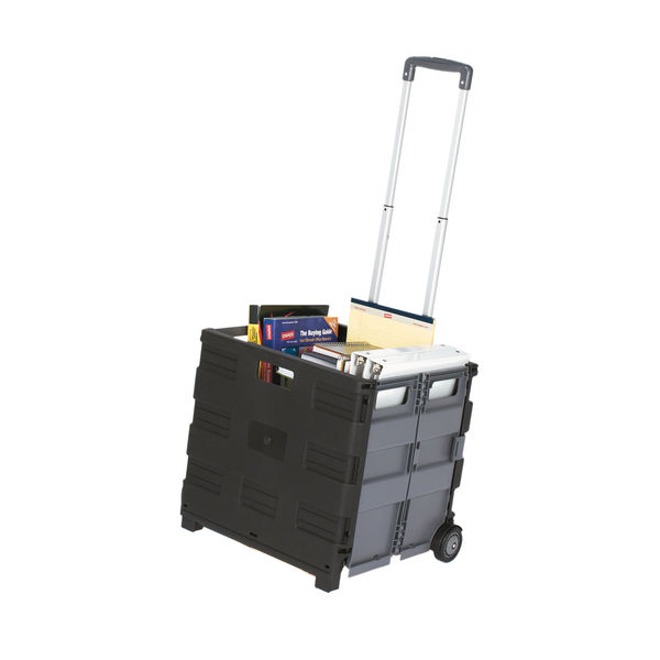 Staples 48L Plastic Storage Crate Box With Wheels Expanding ZYLCBK