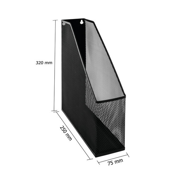 Mesh Magazine Rack Single Compartment 250x73x310mm Black MR1 BLACK