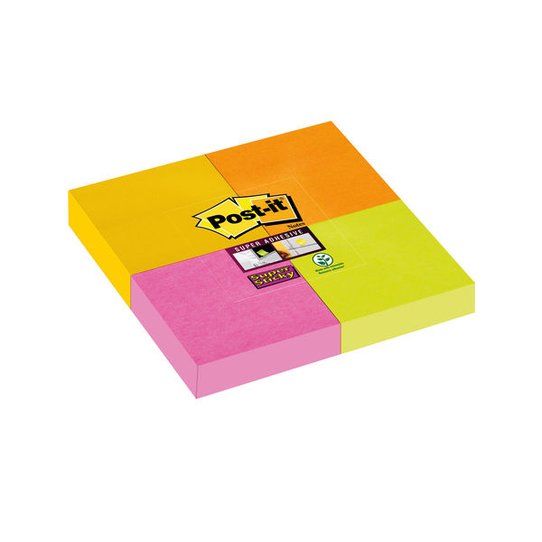 Post-it Super Sticky Notes Pad 51 x 51mm Assorted (Pack of 4) 7100077132