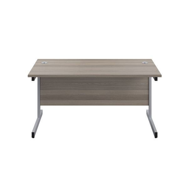 Jemini 1200x600mm Grey Oak/Silver Single Rectangular Desk