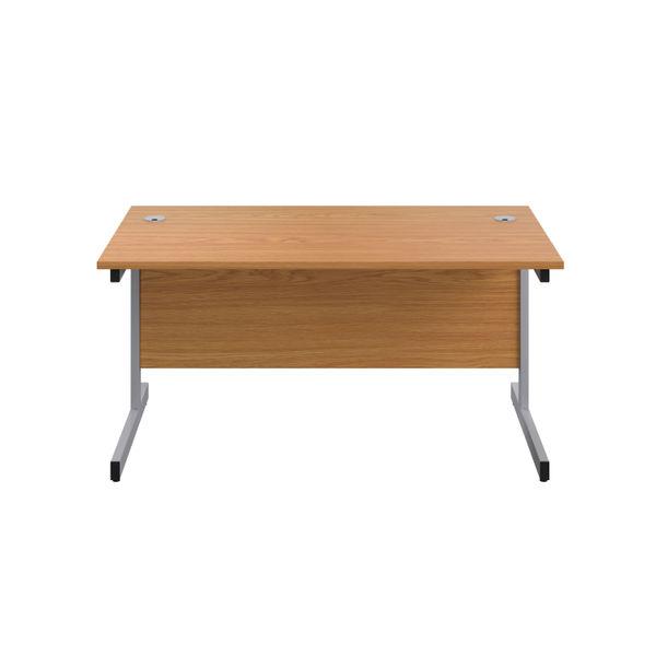 Jemini 1200x600mm Nova Oak/Silver Single Rectangular Desk