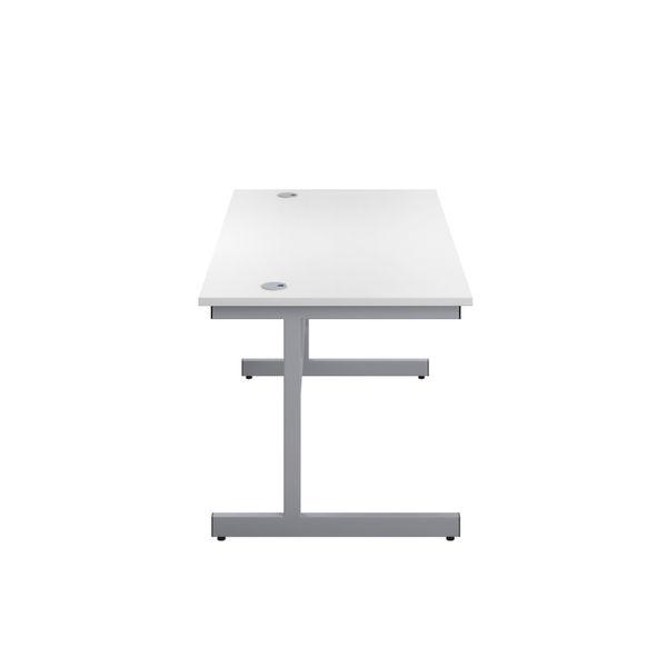 Jemini 1200x600mm White/Silver Single Rectangular Desk