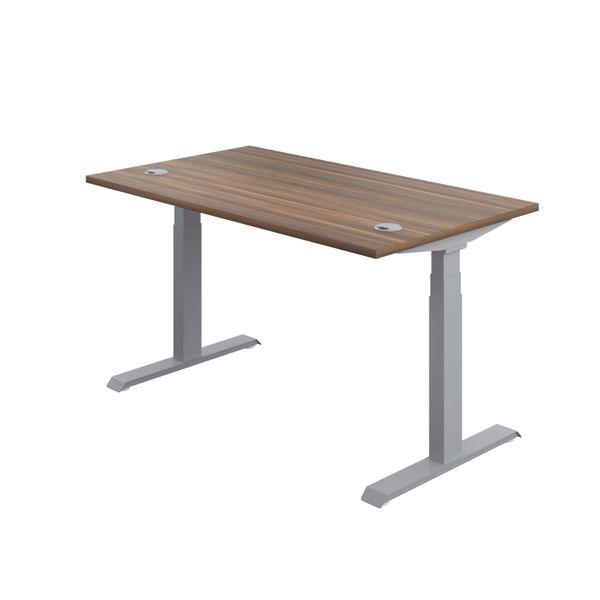 Jemini 1200mm Dark Walnut/Silver Sit Stand Desk