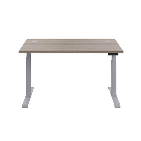 Jemini 1200mm Grey Oak/Silver Sit Stand Desk