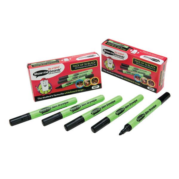 Show-me Black Medium Slim Barrel Drywipe Markers, Pack of 10 - SDP