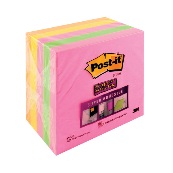 Post-it 76 x 76mm Cape Town Super Sticky Notes, Pack of 5 - 654-SN