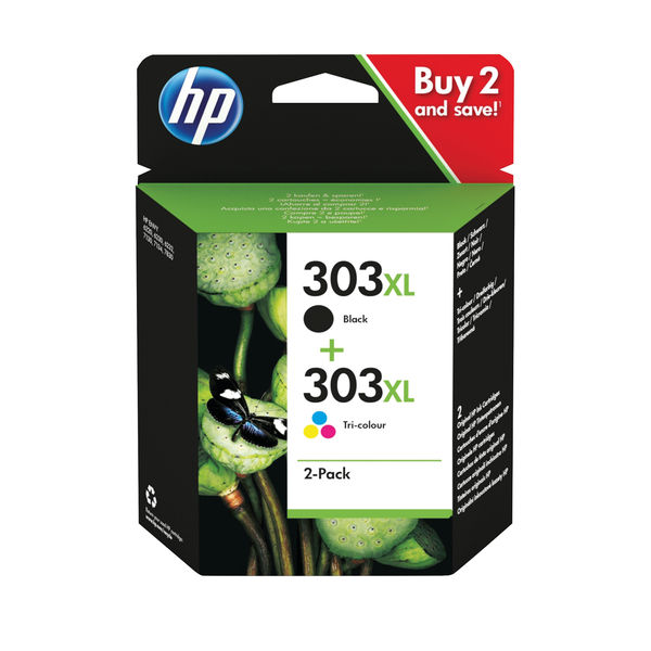 HP 303XL High Yield Tri-colour Black Ink Cartridge Twin Pack 3YN10AE