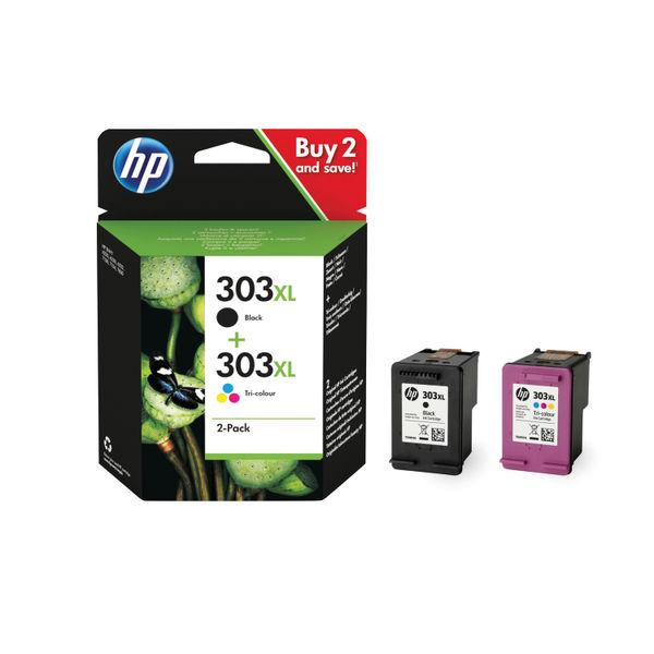 HP 303XL High Yield Tri-colour Black Ink Cartridge Twin Pack 3YN10AE