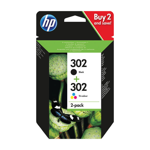 HP 302 Black and Tri Colour Ink Cartridge Combo Pack - X4D37AE
