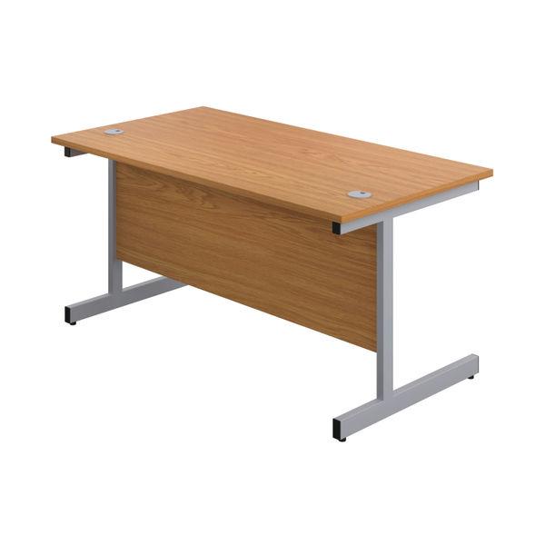 First 1600mm Nova Oak/Silver Single Rectangular Desk