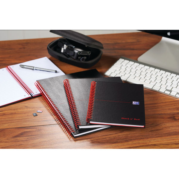 Black n Red Ruled Wirebound Hardback Notebook 140 Pages A5 (Pack of 5) 846354906