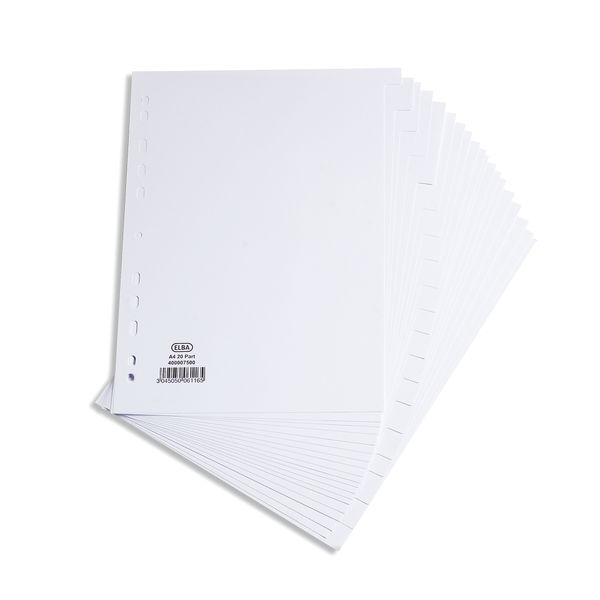 Elba 20-Part Divider 160gsm Multipunched A4 White 400007500