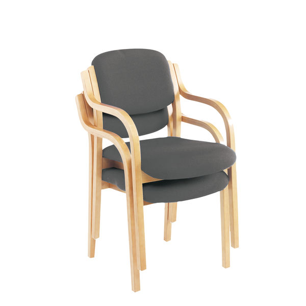 Jemini Charcoal Wood Frame Side Chair with Arms