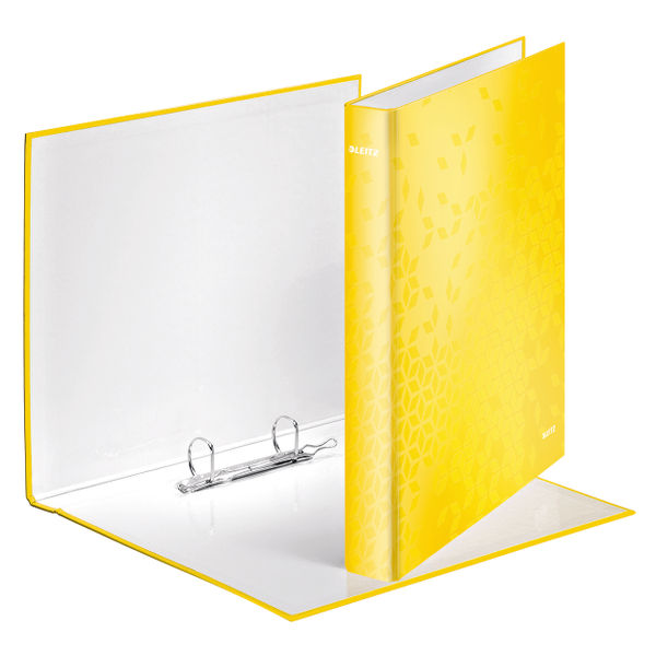 Leitz WOW Yellow A4 25mm 2 D-Ring Binders, Pack of 10 - 42410016
