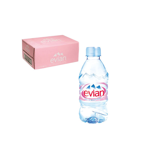Evian Bottled Natural Mineral Water 330ml Bottles - Pack of 24 - DW06301
