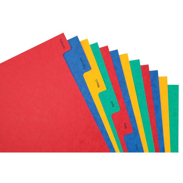 Elba A4 Assorted Colours, Jan-Dec Tabs 12 Part Index Dividers - 400007517
