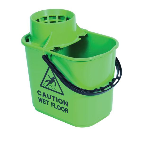 2Work Plastic Mop Bucket with Wringer 15 Litre Green 102946GN