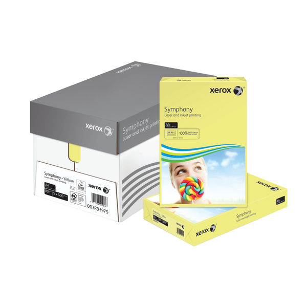 Xerox Symphony Pastel Yellow A4 Paper, 80gsm, 500 Sheets - 003R93975