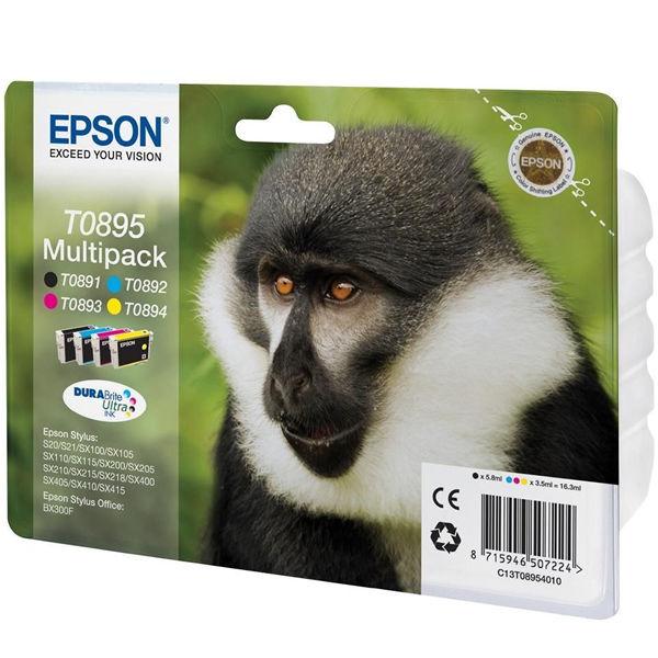 Epson T0895 Black /Cyan/Magenta/Yellow Inkjet Cartridge (Pack of 4) C13T08954010 / T0895